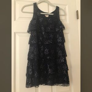 Navy Blue Lace Ruffle Tiered Kids Dress